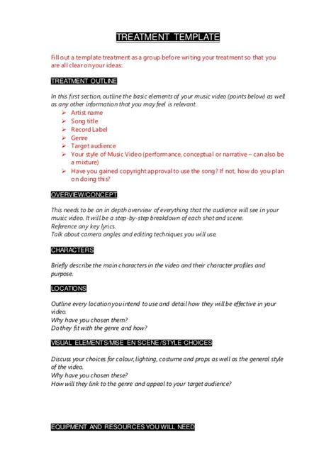 Treatment Template by How To Write Your Treatment