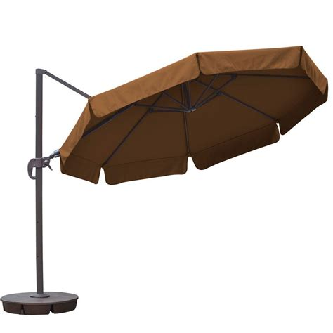 hton bay 11 ft led offset patio umbrella in sunbrella