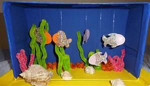 Bastelideen Sommer Kindergarten : basteln mit schuhkartons aquarium mit fischen und korallen kizz ~ Frokenaadalensverden.com Haus und Dekorationen