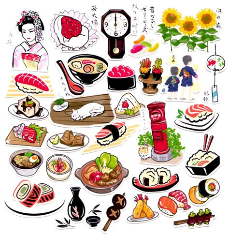 stickers vitres cuisine 31pcs self made japanese food sushi scrapbooking stickers