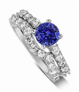2 carat vintage round cut blue sapphire and diamond With blue sapphire wedding ring set
