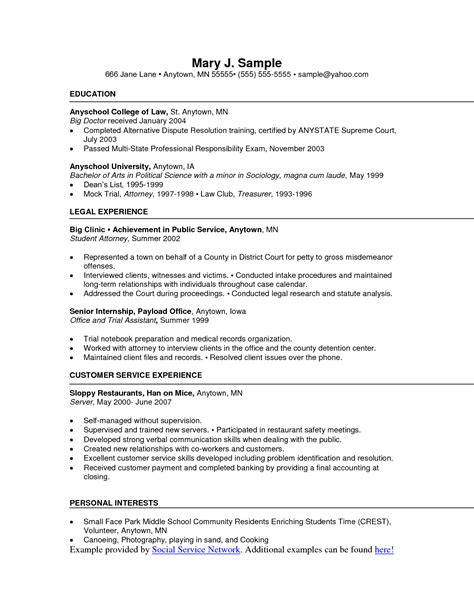 sle resume for fast food chains