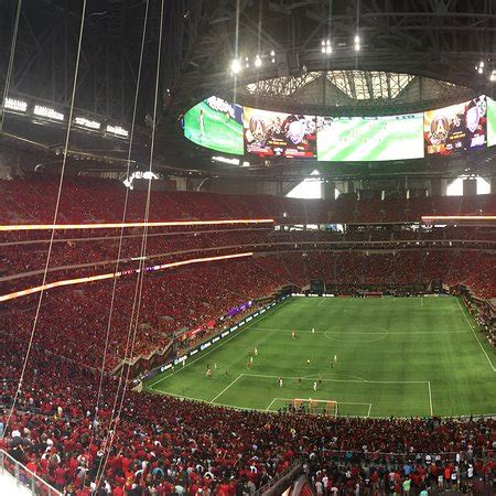The striking, architecturally wowing stadium resembles a camera's aperture and is the first professional sports stadium to achieve leadership in energy and environmental design (leed) platinum status (a green building certification) in the us. During ATL United game - Picture of Mercedes Benz Stadium, Atlanta - TripAdvisor