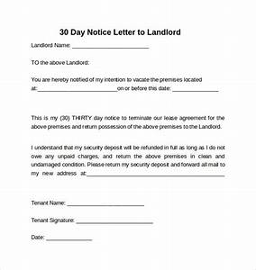 9 sample 30 days notice letters to landlord in word With renters 30 day notice template