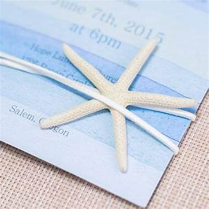 Cheap watercolor beach wedding invitation with starfish for Beach wedding invitations with pictures