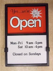 New open closed sliding sign hours menu message board with for Menu board changeable letters