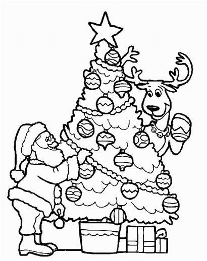 Coloring Tree Pages Christmas Santa Decorating Printable