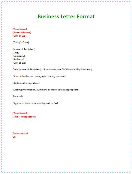 business letter samples templates  format