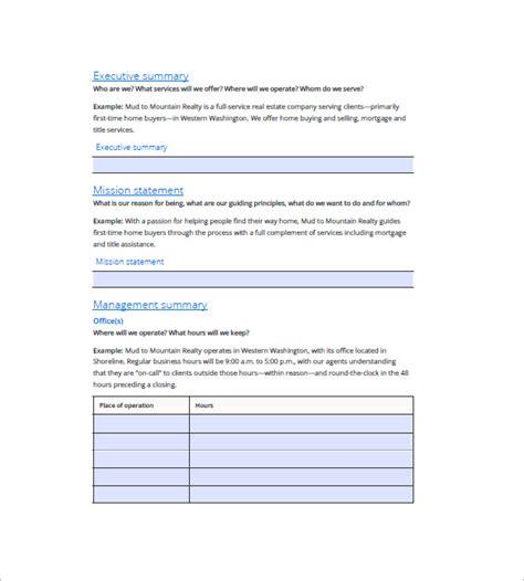 real estate business plan template 16 free word excel pdf format free premium