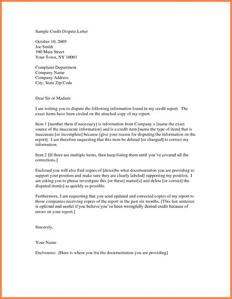sample letter  remove items  credit report