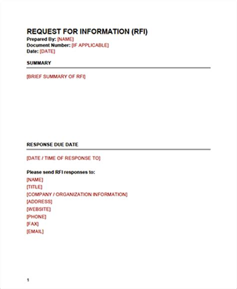 request for information template request for information template cyberuse 24276