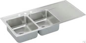 elkay ilr4822l 48 quot drop in double bowl stainless steel sink with 18 gauge 7 1 2 quot bowl depth and