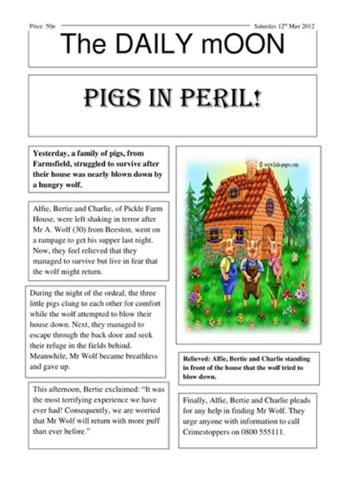 pigs newspaper report  dahab teaching resources tes