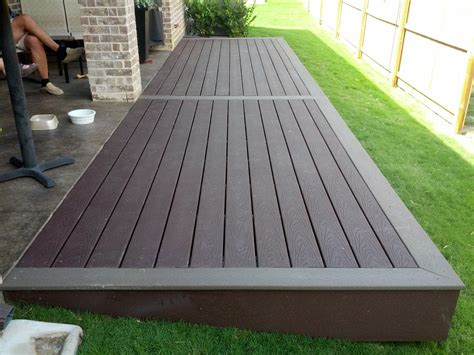 multi color trex deck step from patio big enough to