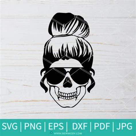 ✓ free for commercial use ✓ high quality images. Mom Life Skull SVG - Messy bun hair SVG - Mom Life design ...