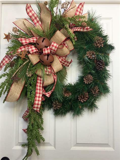 country wreath christmas burlap rustic pine wreath