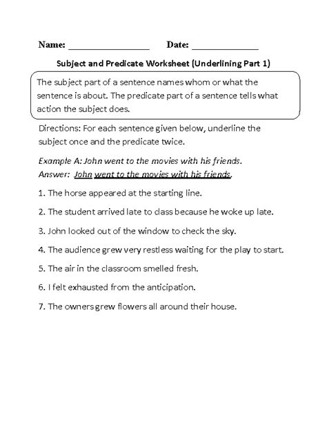 subject and predicate worksheets subject and predicate worksheet underlining part 1