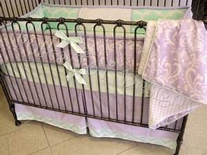 4, Piece, Lavender, U0026, Mint, Baby, Bedding