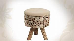 Tabouret Rondin De Bois : tabouret coffre en bois effet rondins ~ Teatrodelosmanantiales.com Idées de Décoration