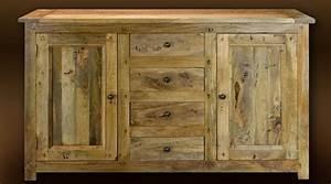 Buffet Bas Bois : buffet bas en bois massif style rustique 2 portes et 4 tiroirs ~ Teatrodelosmanantiales.com Idées de Décoration