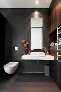 Dekoration Gäste Wc : schwarzes g ste wc mit h ngendem toilettenbecken wohnen pinterest g ste wc gestalten ~ Buech-reservation.com Haus und Dekorationen