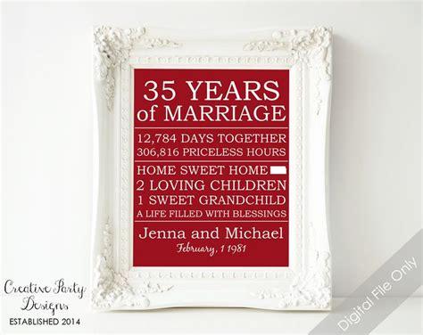 buy 35th birthday wedding anniversary 35th anniversary gift personalized anniversary gift for