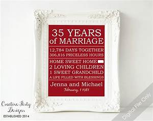 35th anniversary gift personalized anniversary gift for for What to give for 35th wedding anniversary