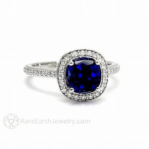blue sapphire and diamond bridal ring cushion cut with With rare earth wedding rings