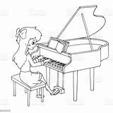 Piano Cartoon Playing Coloring Vector Lesson Pianist Clothes Illustrations Young Bleached Stationery Vectors sketch template