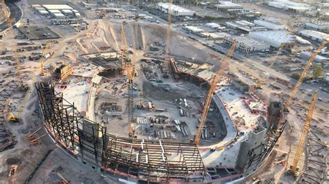 raiders las vegas stadium construction shape ksnv