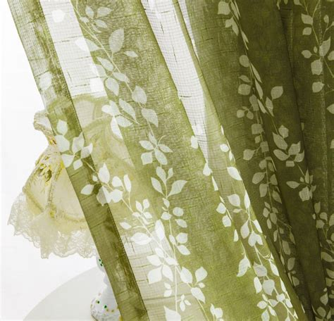 sheer curtain voile panel with printed leaf pattern one