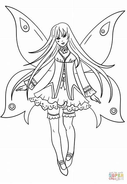 Coloring Fairy Goth Pages Gothic Printable Drawing