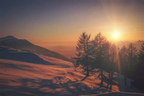 Free Photo Winter Landscape On A Sunset Mountains