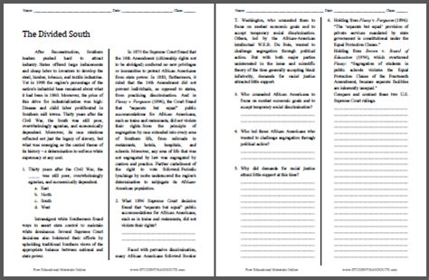 The Divided South  Free Printable American History Reading With Questions