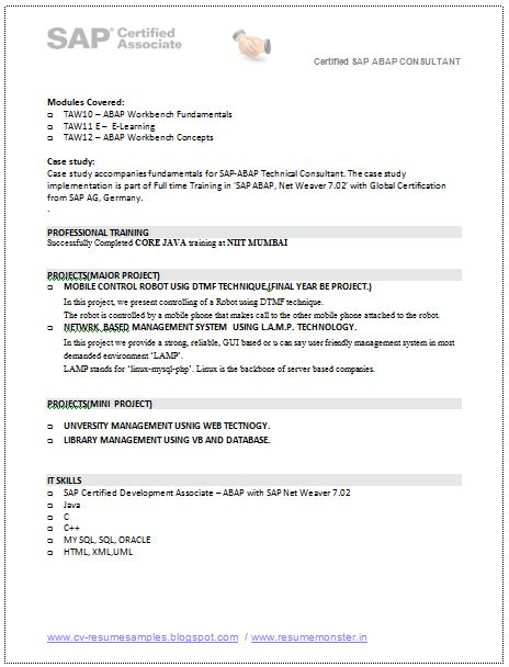 Sap Hana Resume Pdf by 10000 Cv And Resume Sles With Free Sap