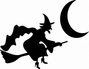 Witch Flying By Crescent Moon Silhouette