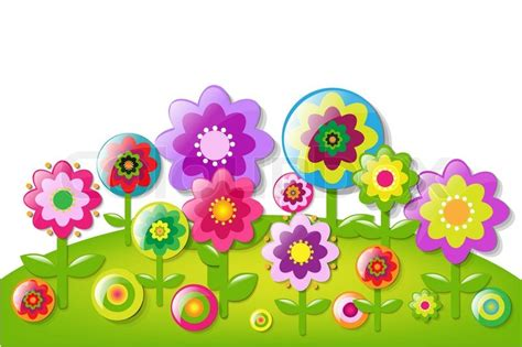 Cartoon Flowers Border With Gradient Mesh, Vector