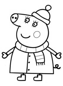 Mummy Pig in Winter Suit coloring page Free Printable