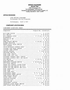 Vw Golf Gl Gti 1991 Wiring Diagrams Service Manual Download  Schematics  Eeprom  Repair Info For