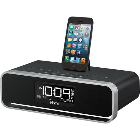 iphone clock radio ihome idl91b dual charging stereo fm clock radio idl91b b h