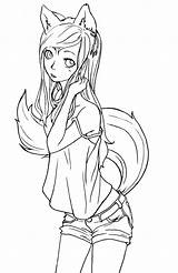 Fox Lineart Tomboy Deviantart Coloring Anime Pages Chibi Sheets Foxes sketch template