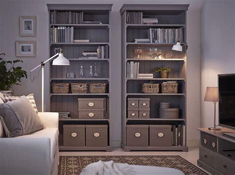 living room   grey ikea hemnes bookcases filled