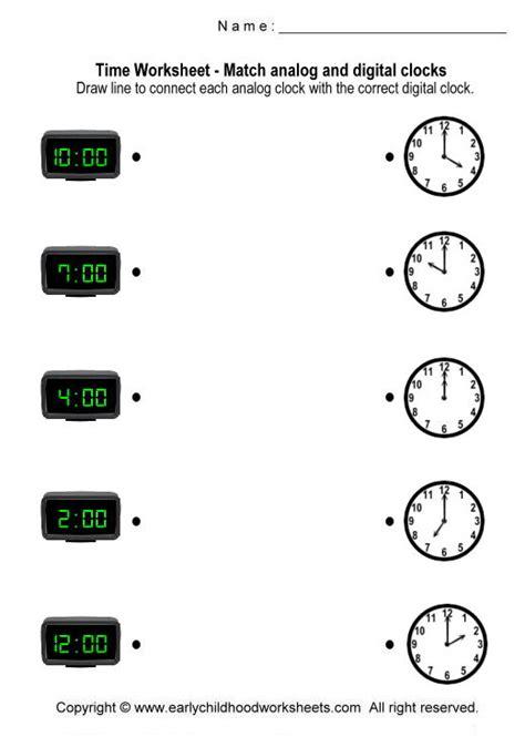 matching digital and analog clocks worksheets worksheet
