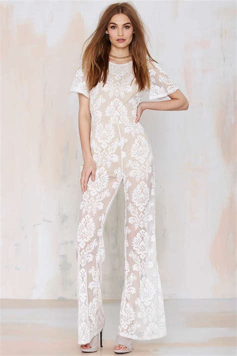 lace jumpsuit gal one and only lace jumpsuit in white lyst
