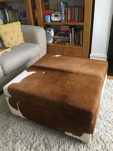 cowhide storage ottoman coffee table with lift up lid for