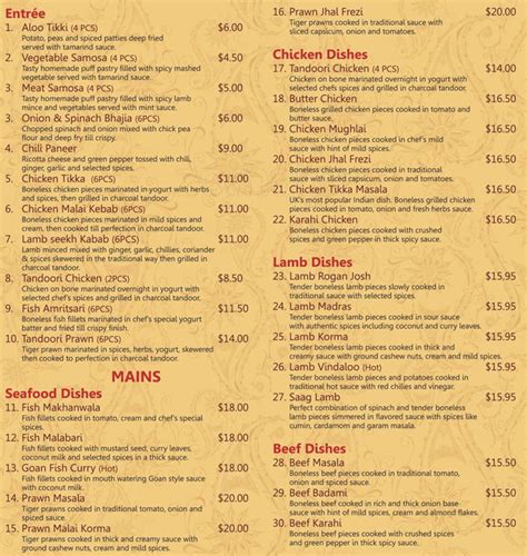 indian cuisine menu rasoi indian restaurant menu menu for rasoi indian