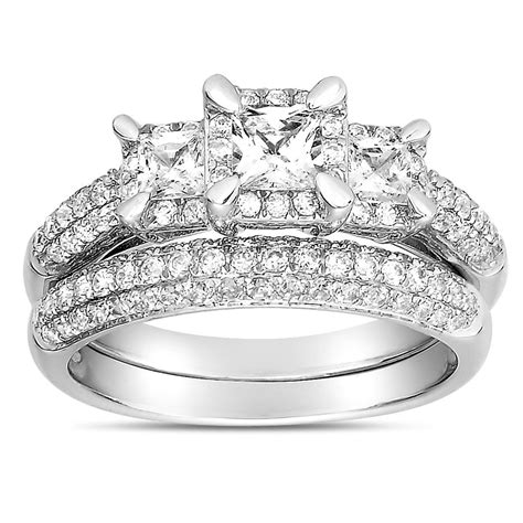 2 carat three stone trilogy princess diamond wedding ring in white gold for women jeenjewels