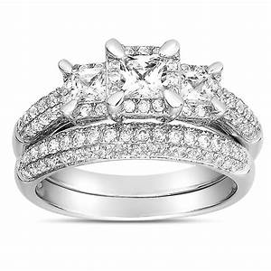 2 carat three stone trilogy princess diamond wedding ring for Three stone wedding ring set