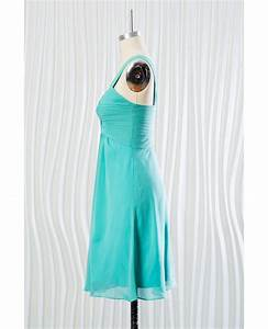 Short Teal Chiffon Bridesmaid Dress One Shoulder Strap for ...