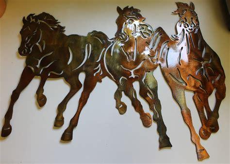 running  western  horses metal wall art decor